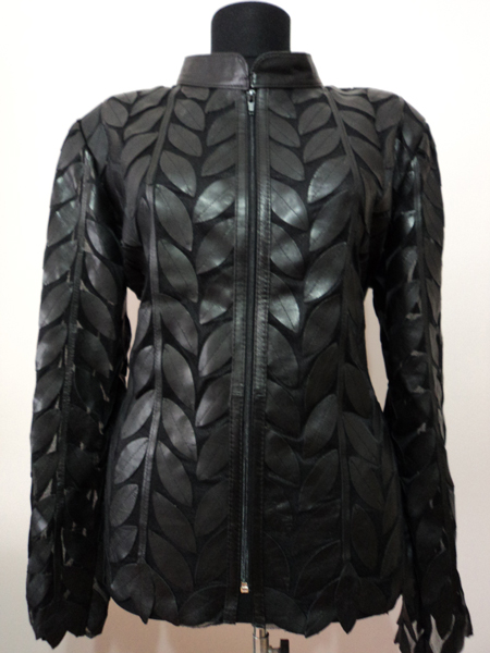 Black Leather Leaf Jacket for Women Design 04 Genuine Short Handmade Lightweight Meshed [ Click to See Photos ]