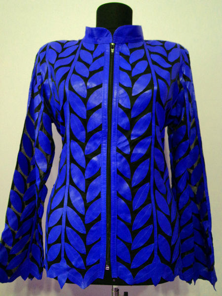 Blue Leather Leaf Jacket for Women Design 04 Genuine Short Handmade Lightweight Meshed [ Click to See Photos ]