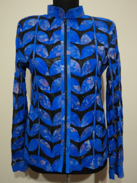 Flower Pattern Blue Leather Leaf Jacket