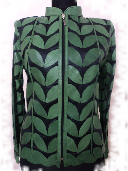 Green Leather Leaf Jacket