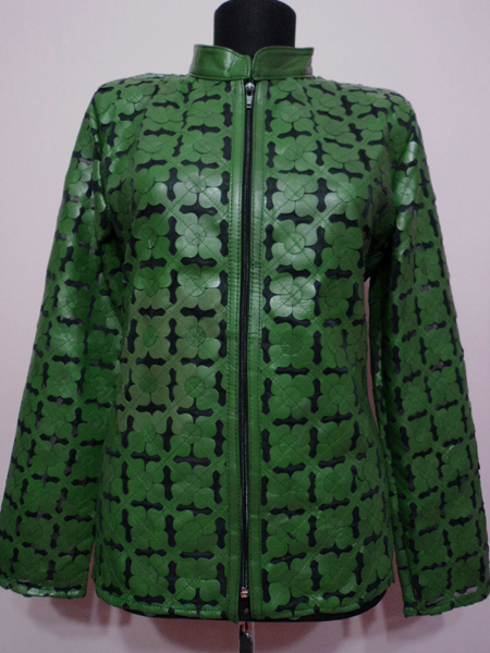 Green Leather Leaf Jacket for Women Design 06 Genuine Short Zip Up Light Lightweight