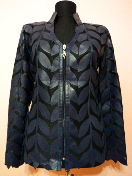 Navy Blue Leather Leaf Jacket for Women V Neck Design 08 Genuine Short Zip Up Light Lightweight [ Click to See Photos ]