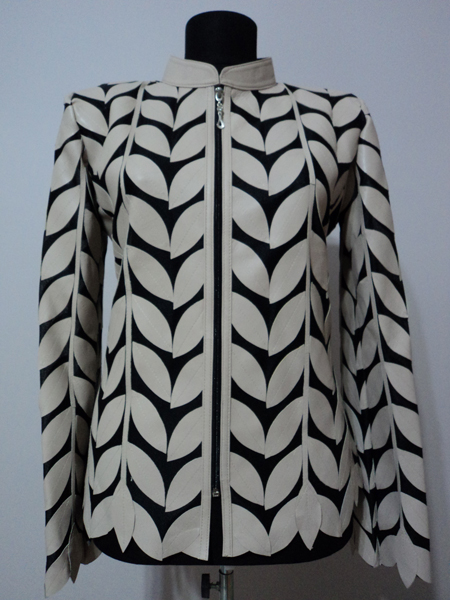 Plus Size Beige Leather Leaf Jacket for Women Design 04 Genuine Short Zip Up Light Lightweight [ Click to See Photos ]