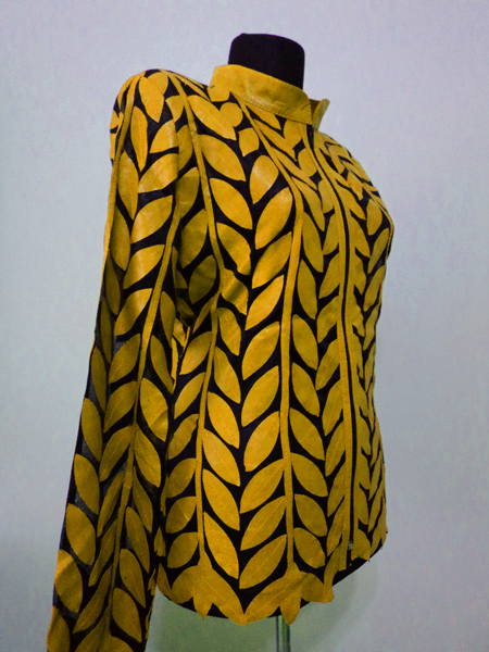 Plus Size Yellow Leather Leaf Jacket for Women Design 04 Genuine Short Zip Up Light Lightweight