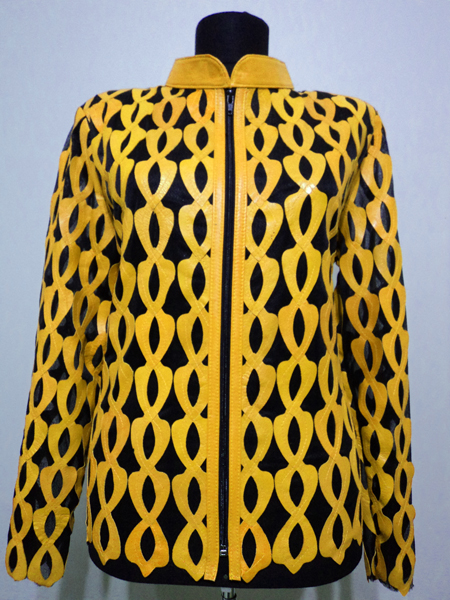 Plus Size Yellow Leather Leaf Jacket for Women Design 05 Genuine Short Zip Up Light Lightweight
