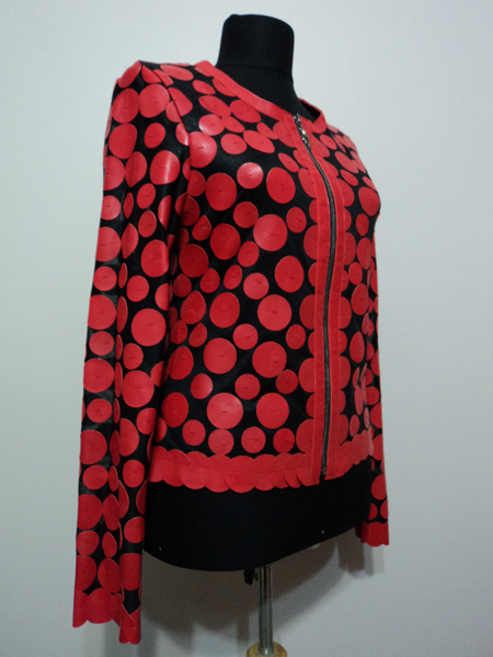 Red Leather Leaf Jacket for Women Design 07 Genuine Short Zip Up Light Lightweight