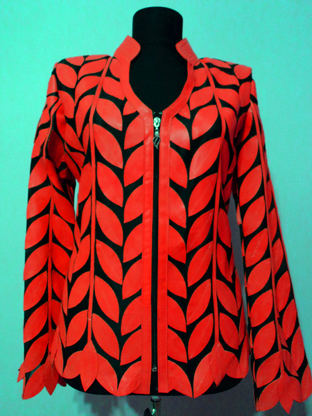 Red Leather Leaf Jacket for Women V Neck Design 08 Genuine Short Zip Up Light Lightweight [ Click to See Photos ]