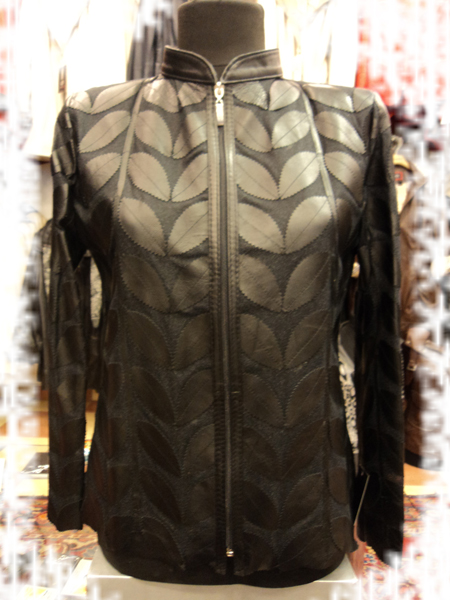 Womens Black Leather Leaf Jacket