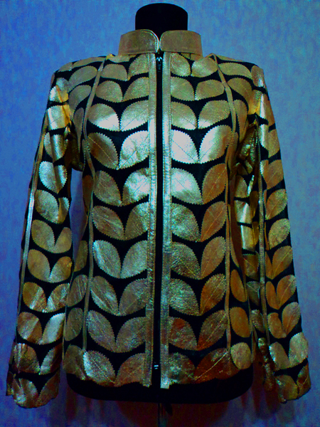 Gold Leather Leaf Jacket for Women [ Click to See Photos ]