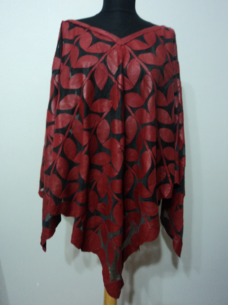 Womens Red Leather Leaf Poncho [ Click to See Photos ]