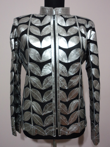 Womens Shiny Silver Gray Leather Leaf Jacket