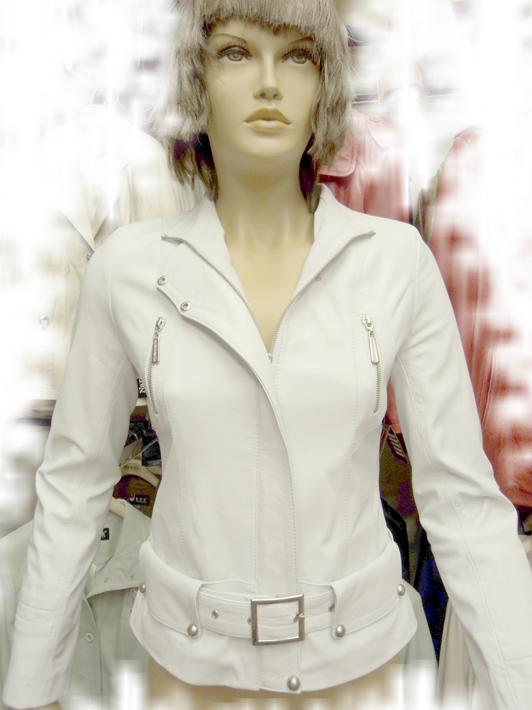 Womens White Leather Jacket