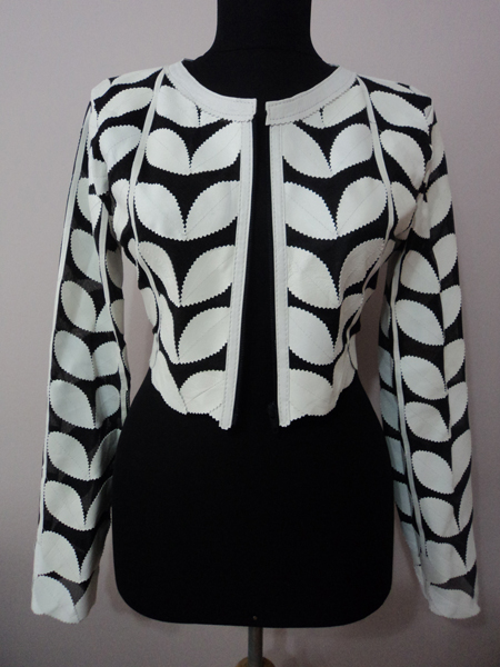 White Leather Leaf Bolero for Women